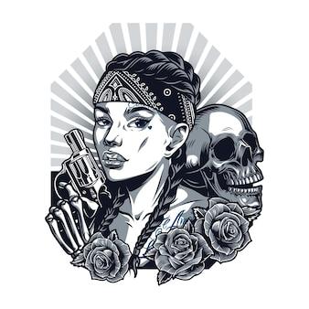 Винтажный шаблон чикано татуировки с красивой девушкой в бандане черепа скелет рукой, держащей револьвер и розы в монохромном стиле, изолированные векторные иллюстрации