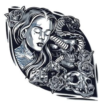 Винтажный шаблон стиля татуировки chicano