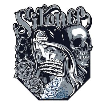 Концепция стиля татуировки chicano