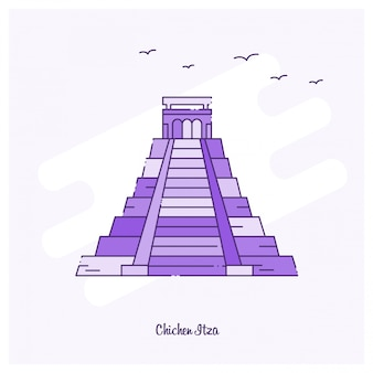 Chichen itza landmark purple