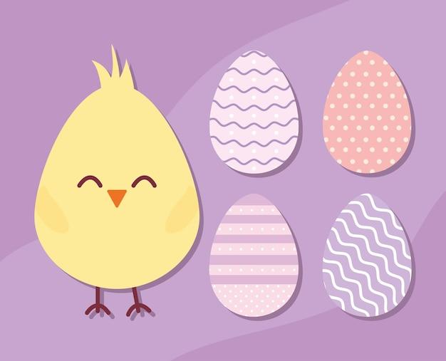 병아리와 부활절 달걀 벡터 일러스트 레이 션 디자인 세트