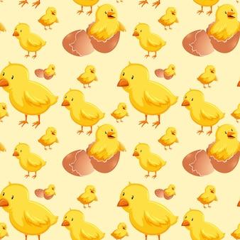 Chick hatching egg seamless