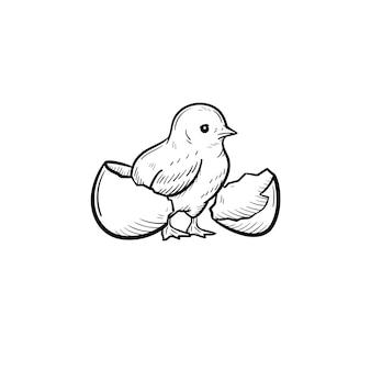 卵の殻から覗くひよこ手描きベクトルアウトライン落書きアイコン。白い背景で隔離の印刷物、ウェブ、モバイル、インフォグラフィックのひよこ頭スケッチイラスト。