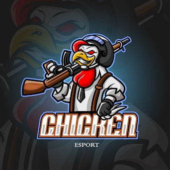 Chicke талисман киберспорт дизайн логотипа