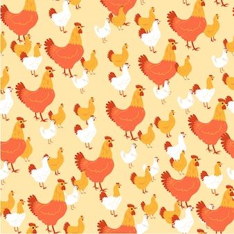 Курица и петухи бесшовные модели.