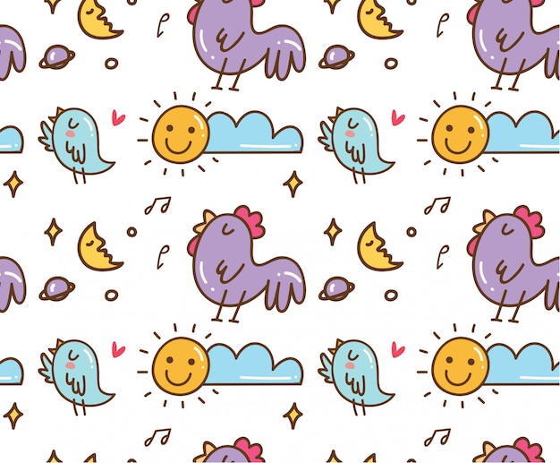 Chicken and bird singing seamless background