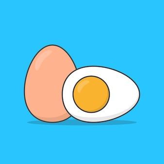 青で分離された鶏ゆで卵食品