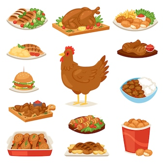 Chicken  cartoon chick character hen and food chicken-wings with vegetables and barbecue sausage for dinner illustration set of fastfood burger and french fries  on white background