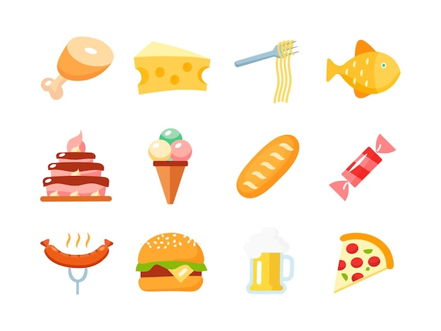 Chicken. cheese. spaghetti. fish. cake. ice cream. loaf. candy. sausage. hamburger. beer. pizza. food icon set