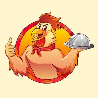 Курица повар искусства вектор