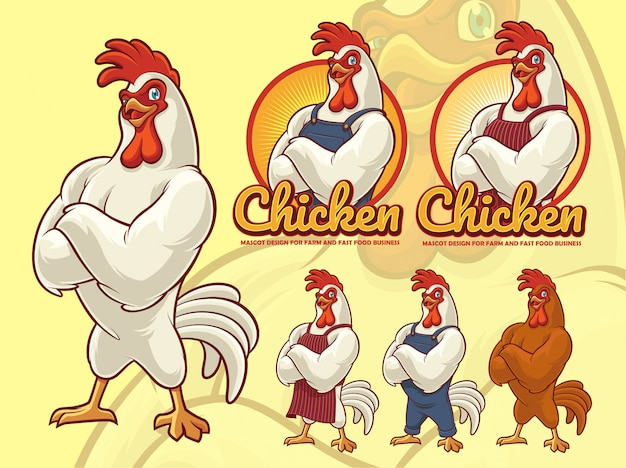 Дизайн талисмана chicken chef для бизнеса быстрого питания