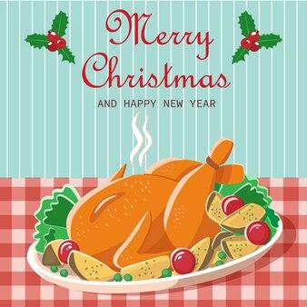 Куриное рождество, праздничный ужин, открытка