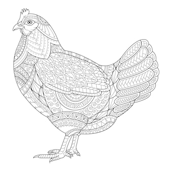 Chicken coloring book for adult, tattoo