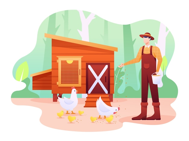 鶏小屋のイラストは家禽と家禽の小屋または農場で、鶏、鳥、またはその他の何でもかまいません。この図は、ウェブサイト、ランディングページ、ウェブ、アプリ、バナーに使用できます。