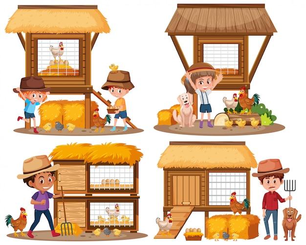 鶏小屋と農場の子供たち