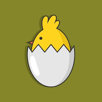 Chicken on cracked egg illustration design