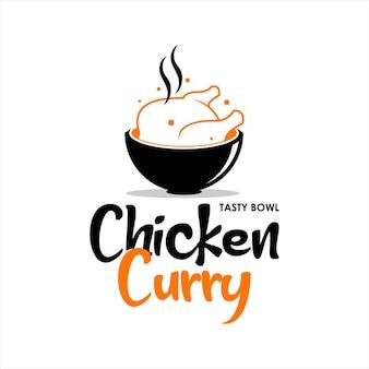 치킨 카레 로고 인도 음식 벡터