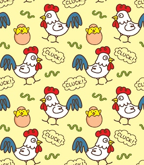 Chicken and egg seamless background