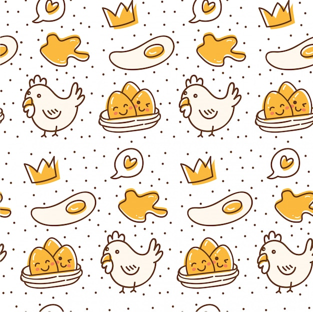 Chicken and egg seamless pattern in kawaii doodle style