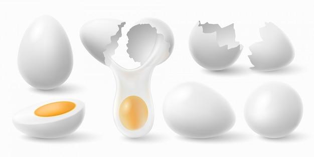 Chicken eggs. cracked eggshell and boiled egg realistic  illustration set