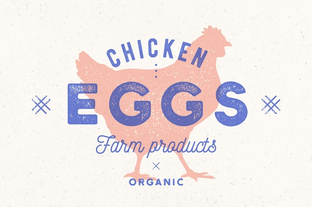 Chicken eggs. vintage hand drawn logo, retro print, poster with shilouette chicken, rooster.