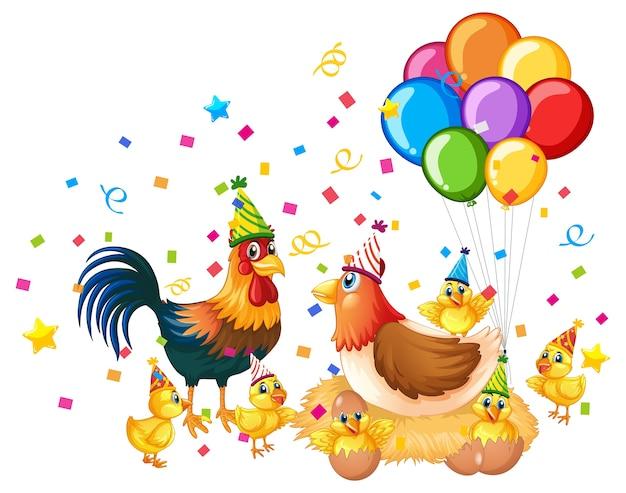白で隔離のパーティーテーマの鶏の家族