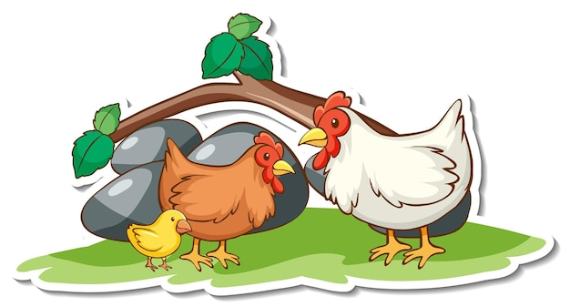 Chicken family with nature element sticker