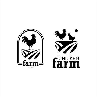 養鶏場デザインシンプルなオンドリシルエットグラフィック要素