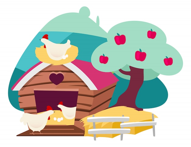 養鶏場フラットイラスト。家禽の有機農業、白い背景に分離された田舎のヘネリー漫画コンセプト。卵を運ぶ鶏小屋の鶏。裏庭ヘンハウス