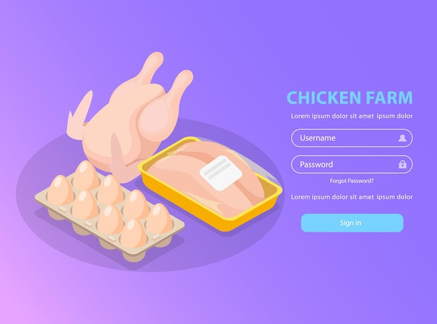 Chicken farm isometric login page with form and broiler eggs and fillet