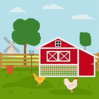 鶏小屋のある養鶏場。フラットベクトルイラスト
