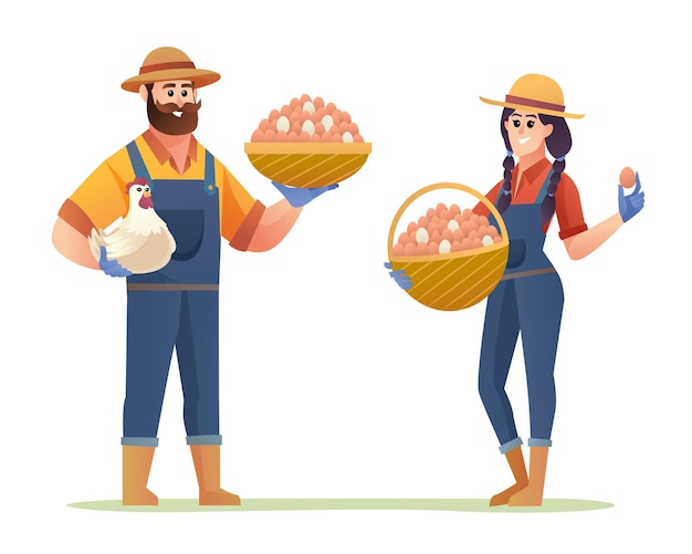 Chicken farmer male and female characters holding eggs