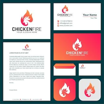 鶏の火のロゴと名刺プレミアムベクトル