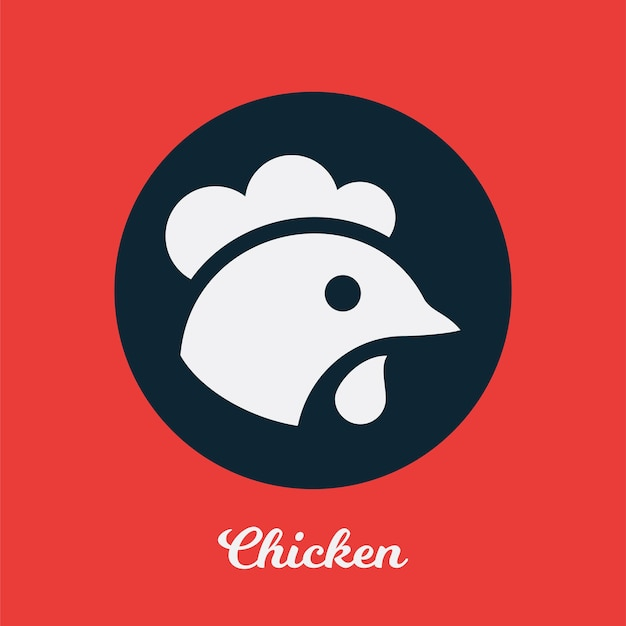 チキンフラットアイコンデザイン、ロゴシンボル要素
