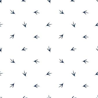 生地、壁紙、バナーの鶏の足跡のシームレスなパターン。オンドリスタンプ。