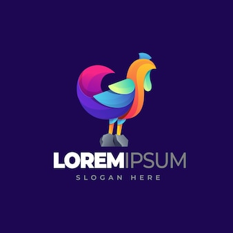 Chicken gradient logo template Premium Vector