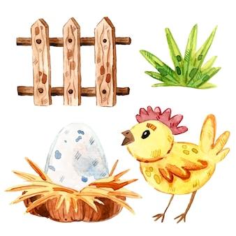 Курица, трава, деревянный забор, гнездо, яйцо. животные фермы картинки, набор элементов. акварельная иллюстрация.