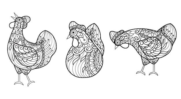 チキン。大人の塗り絵の手描きのスケッチ図