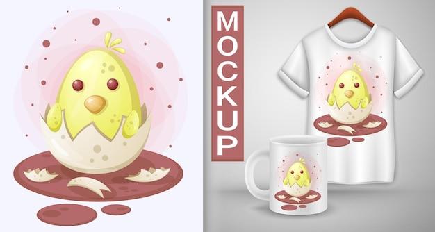 계란에서 부화 한 닭. 티셔츠 템플릿.