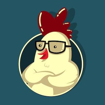 メガネのチキンヒップ。 tシャツ、ロゴ、エンブレム、マスコット、バッジ、その他のデザインテンプレートです。オンドリの漫画の概念図。