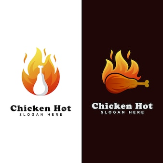 Chicken hot food logo, grilled chicken logo, chicken roast logo template