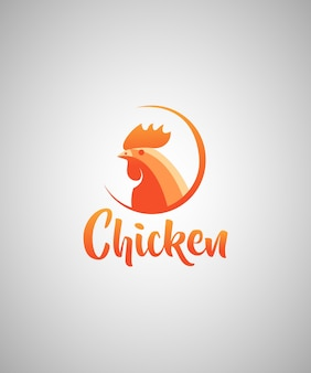 Chicken illustration logo design template