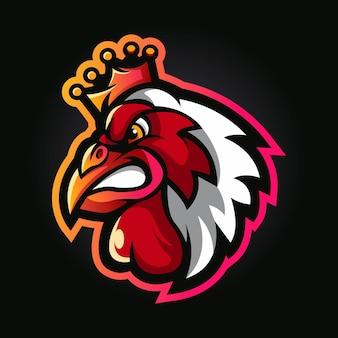 Chicken king cartoon mascot logo illustration
