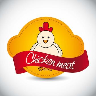 Chicken label over gray background vector illustration