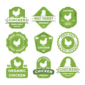 鶏のロゴを設定します。ラベル、バッジ、デザイン要素。レトロなオーガニックスタイル。