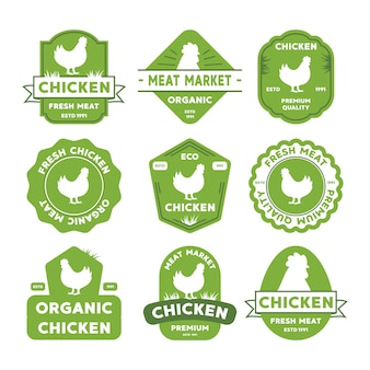 Chicken logo set. labels, badges and design elements. retro organic style.