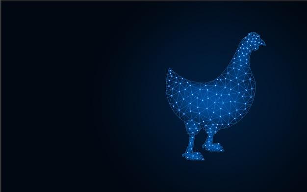 Курица с низким поли синий фон
