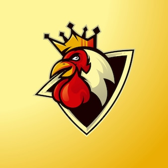 Esport 팀 로고 디자인을위한 치킨 마스코트 프리미엄 벡터