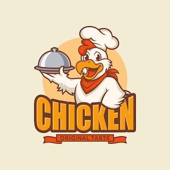 ベージュで分離された鶏のマスコットのロゴ
