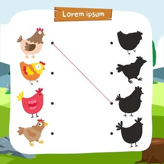 Chicken matching game vector design